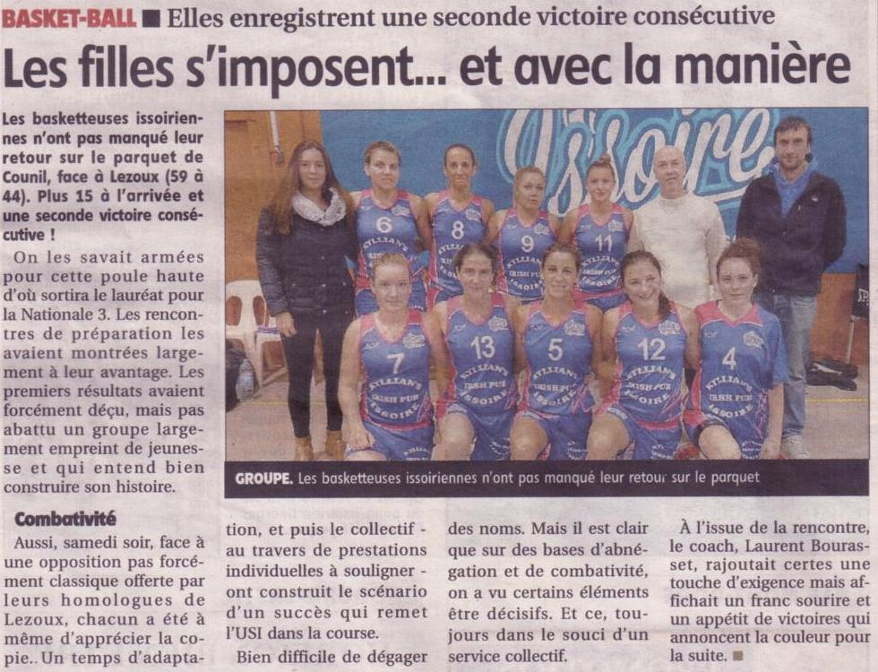 Article journal la montagne du 12 novembre 2014 usi basket - Le journal la montagne ...