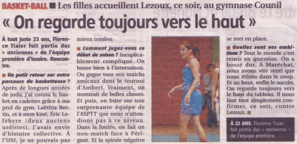 Article Journal La Montagne Du 08 Novembre 2014 Usi Basket